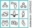 human resource, organization, business management icon set, simple line - stock vector