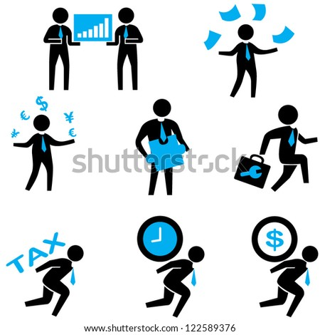 human resource, organization management and office people concept set - stock vector