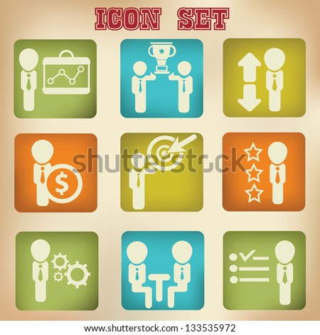 Human resource,organization,management icon set,vintage style,vector - stock vector