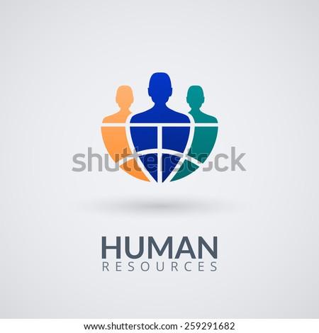Human resource vector concept logo. Vector Illustration. - stock vector
