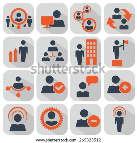 Human resources and management icons set. - stock vector