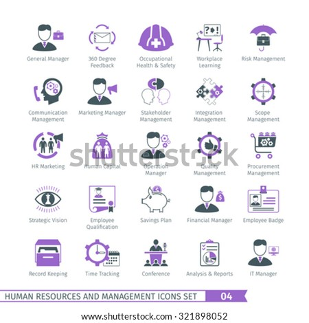 Human Resources And Management  Icons Set 04 - stock vector