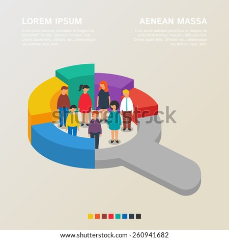 Human resources and social statistics concepts, vector illustration flat style - stock vector