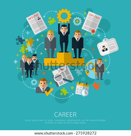 Human resources business career infographic elements schema poster with job search and employment symbols abstract vector illustration  - stock vector