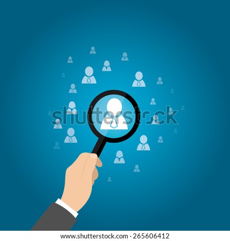 Human resources, CRM, data mining, officer looking for employee represented by icon. vector Illustration - stock vector