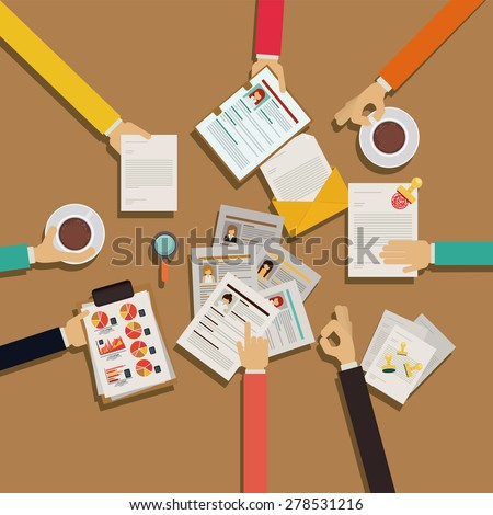Human Resources design over brown background, vector illustration - stock vector