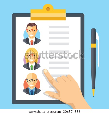 Human resources, employment, team management flat illustration concepts. Modern flat design concepts for web banners, web sites, printed materials, infographics. Creative vector illustration - stock vector