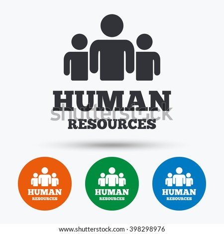 Human resources icon. Human resources flat symbol. Human resources art illustration. Human resources flat sign. Human resources graphic icon. Flat icons in circles. Round buttons for web. - stock vector