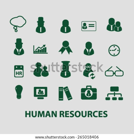 human resources icons, signs, illustrations set, vector - stock vector