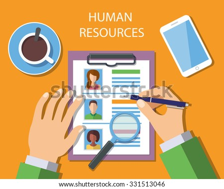 Human Resources Management Concept, Man analyzing personnel resume. Vector Illustration - stock vector