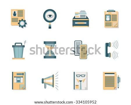 Human resources management. Head hunter job symbols. Set of flat color style vector icons.  Web design elements for site and mobile application. - stock vector