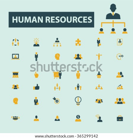 human resources, organization, businessman, management  icons, signs vector concept set for infographics, mobile, website, application  - stock vector