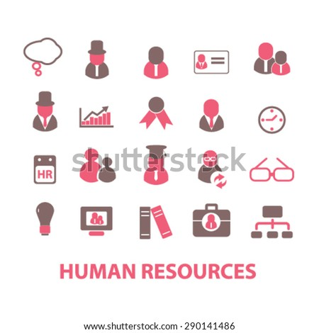 human resources, organization isolated icons, signs, illustrations, vector for internet, website, mobile application on white background - stock vector
