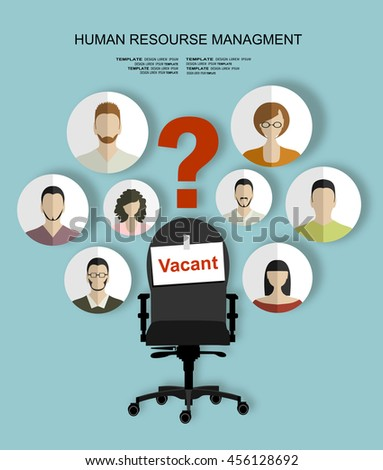 Human resources recruiting planning job business concept with office chair abstract flat vector illustration