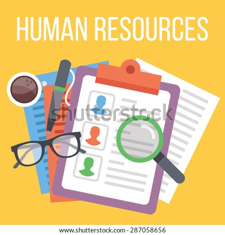 Human resources. Search for candidate process. Flat design concept for web banners, web sites, printed materials, infographics. Creative vector illustration - stock vector