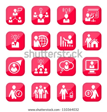 Human Resources Vector Icon Set for web and mobile. All elements are grouped. - stock vector