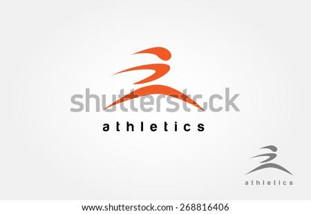 Human running vector logo character - stock vector