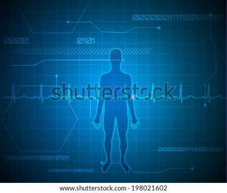 Human silhouette abstract technology background. Beautiful deep blue color. - stock vector