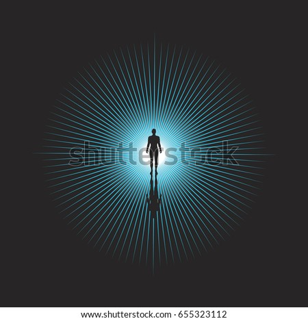 Human silhouette and lightning background