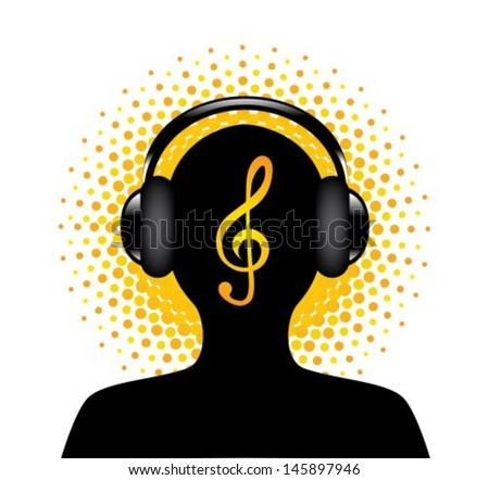 human silhouette in headphones with a treble clef on the halfton  background - stock vector