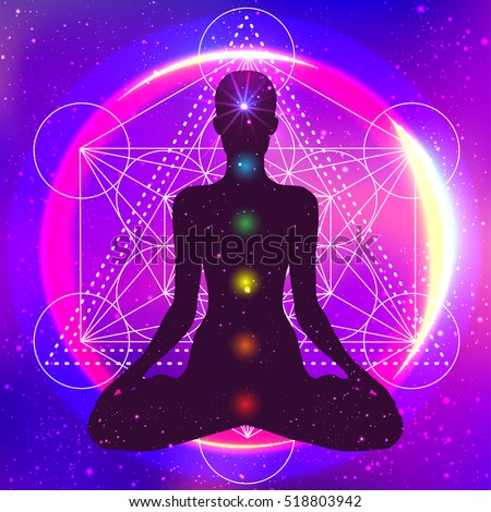 Human silhouette meditating or doing yoga. Metatrons Cube, Flower of life. Sacred geometry abstract background. Good design for textile t-shirt print, colorful poster background. Inner ligh