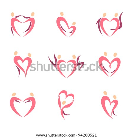 Human silhouettes  in the shape of heart. Icons set. - stock vector