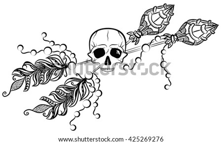 Human skull and arrows sketch. Boho style. - stock vector