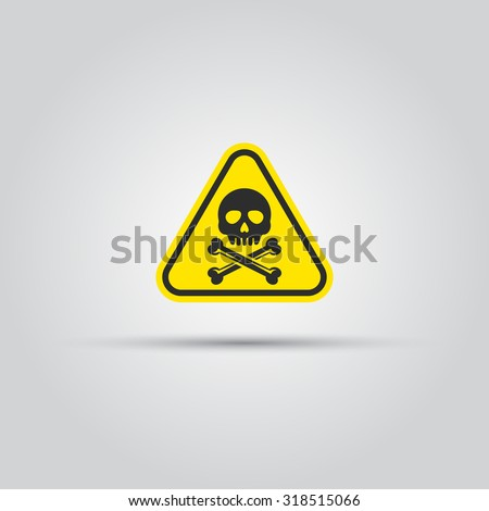 Human skull and crossed bones caution triangular sign isolated vector. Warning signs, symbols, danger, high voltage, alert, caution vector icon  - stock vector