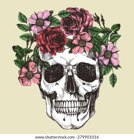 Human skull and flower wreath. Los muertos. Vector illustration. - stock vector