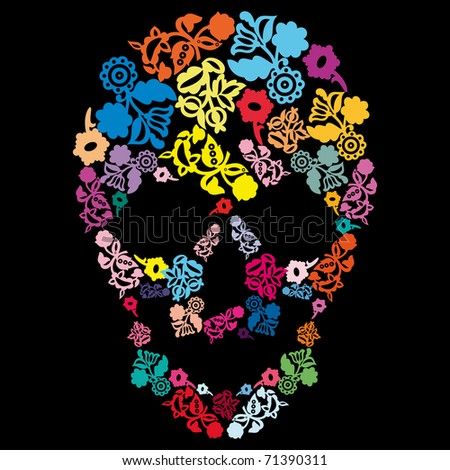 Human skull in flowers, isolated on black - stock vector