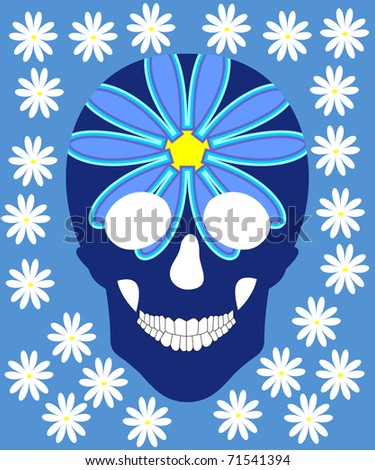 Human skull in flowers, isolated on blue - stock vector