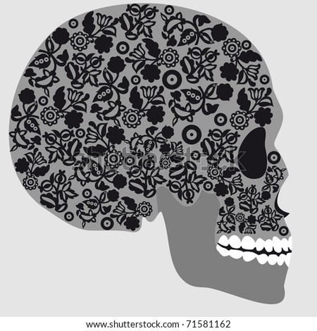 Human skull, isolated on gray - stock vector
