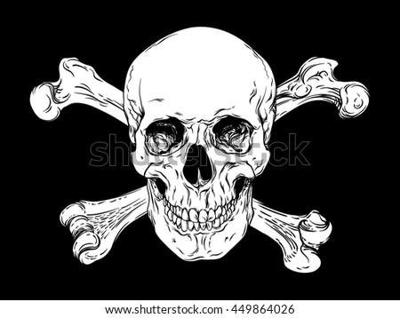 Human skull with crossbones vector. Jolly Roger logo template t-shirt design. Pirate  concept illustration - stock vector