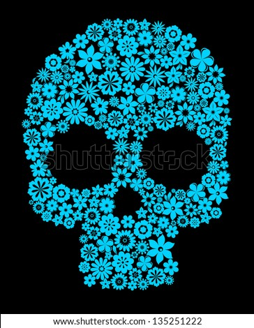 Human skull with flower elements for religion or halloween design. Jpeg version also available in gallery - stock vector