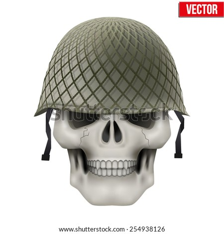 Human skull with Military classic helmet green color. Vector Illustration on isolated white background - stock vector