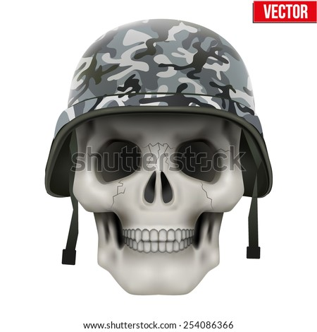 Human skull with Military helmet. Vector Illustration on isolated white background - stock vector