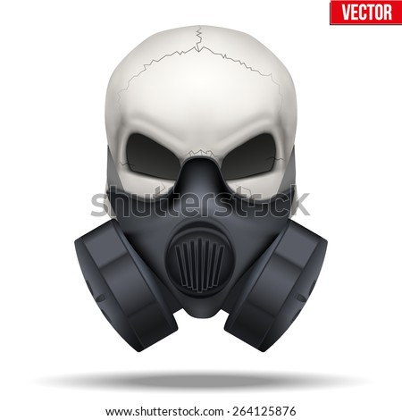 Human skull with Respirator mask. Vector isolated white background - stock vector