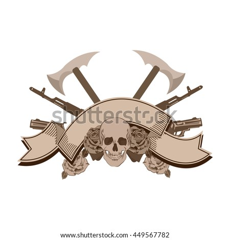 Human skull with roses and and guns, weapon, blank ribbon. Illustration in tattoo style isolated on white background - stock vector