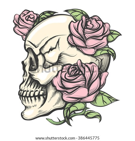 Human Skull Roses Drawn Tattoo Style Stock Vector 386445775 ...