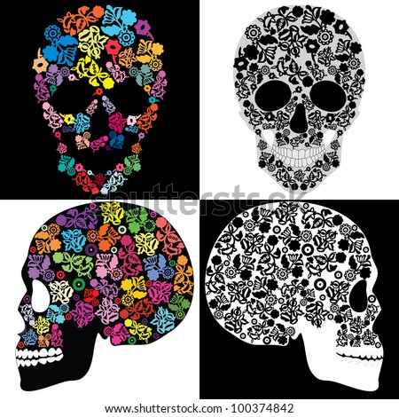Human skulls in flowers, isolated - stock vector