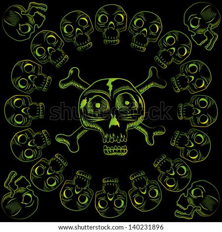 human skulls vector illustration