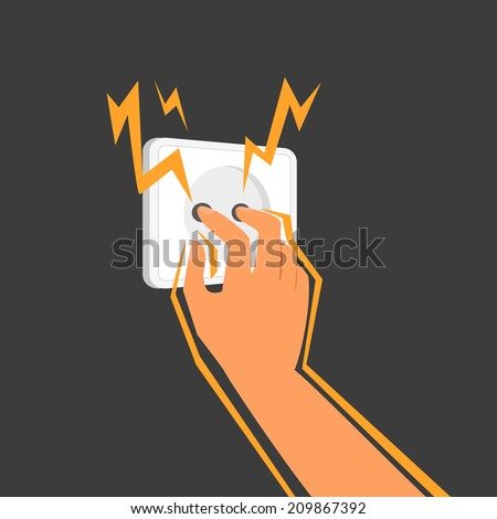 Human sticks his fingers into an electrical outlet. - stock vector