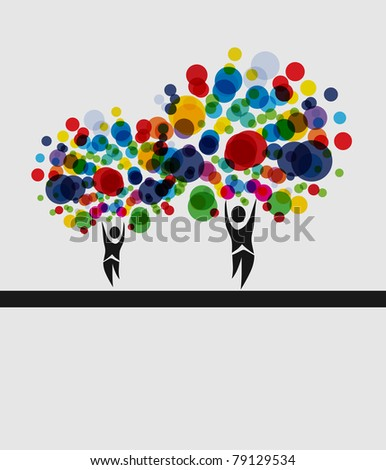 human tree invitation for life events with place for text - stock vector