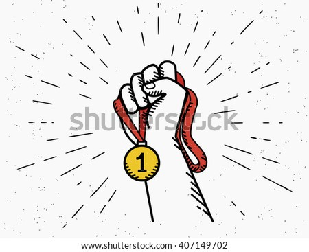 Human vintage hand holds red ribbon with golden medal. Concept emblem design in retro style isolated on white background with sunburst rays - stock vector