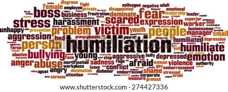 Humiliation word cloud concept. Vector illustration - stock vector