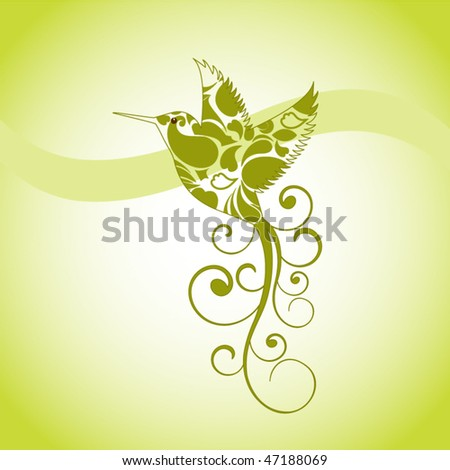 Humming bird (body of hummingbird wi cut out so you can see through) - stock vector