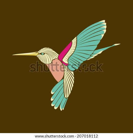 hummingbird abstract blue wing on brown background eps 10 vector - stock vector