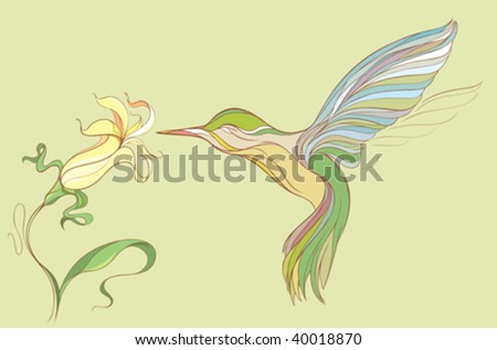 hummingbird and yellow flower isolated in a green background - stock vector