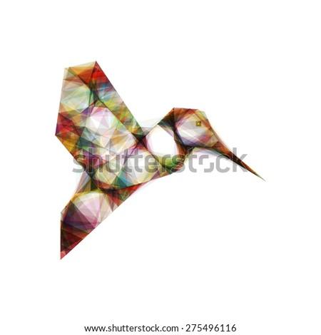Hummingbird Mesh Vector Design - stock vector
