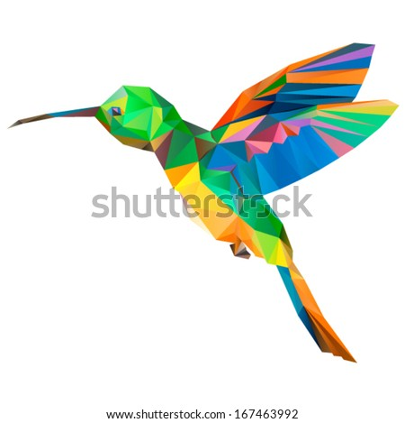 hummingbird origami (geometric style). colibri illustration of a many triangles. - stock vector